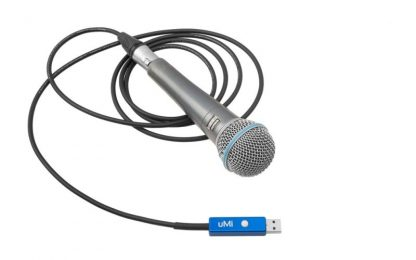 UMI usb audio interface cable with microphone for location broadcast and recording in high quality.