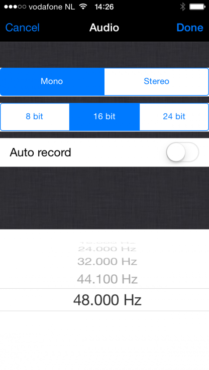 Audio settings in the LUCI LIVE audio over IP broadcasting software.