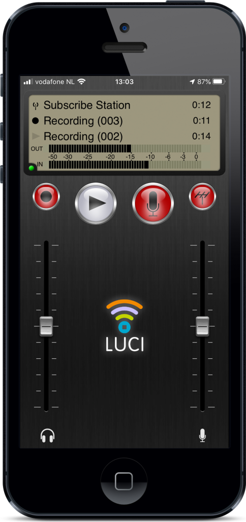 Iphone with LUCI Subscribe live point to point audio over IP broadcasting software subscriptions.